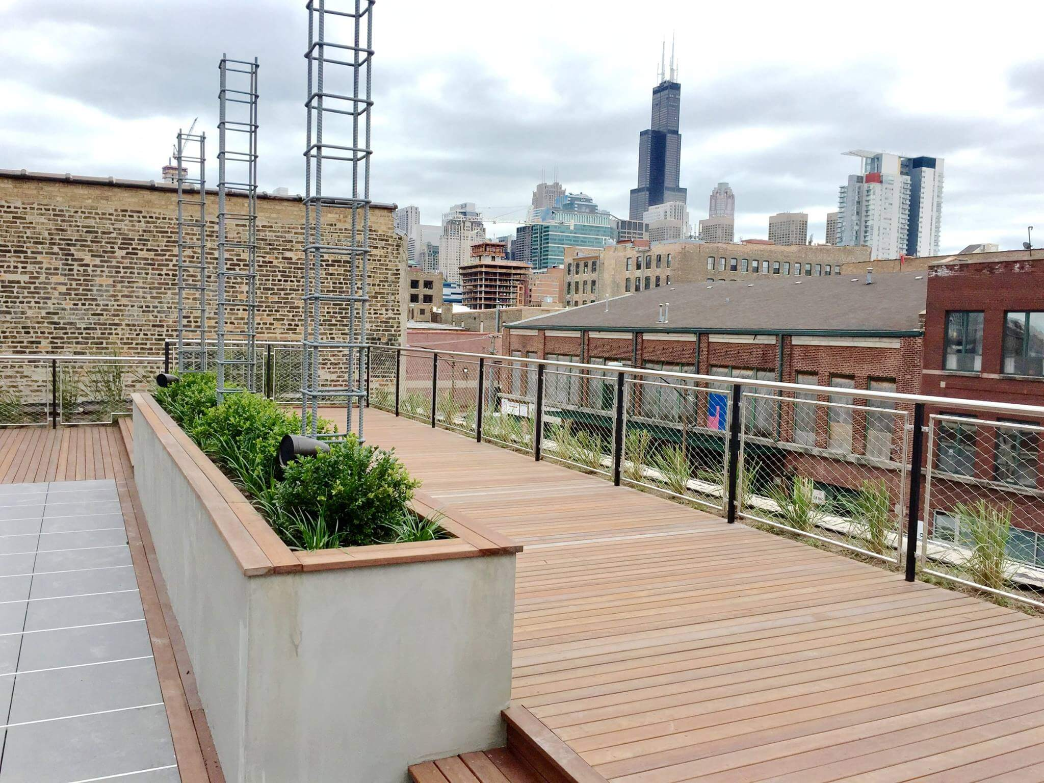 Roof Deck Decking Pergola And Planters In Chicago