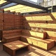 Roof deck with built-in bench seating and planters in Lakeview Chicago