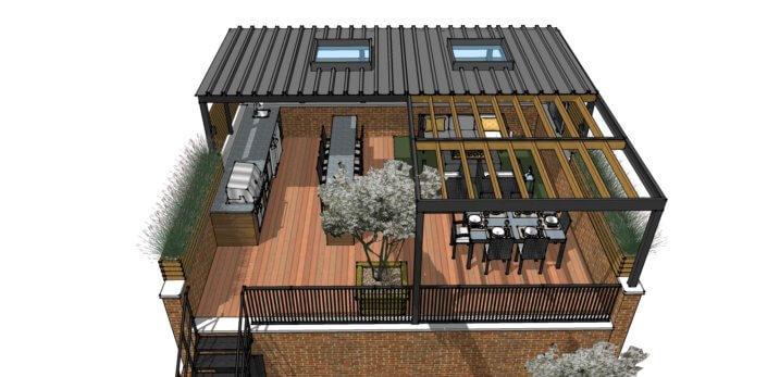 Garage Roof Deck Idea 3D Design Lakeview Chicago4