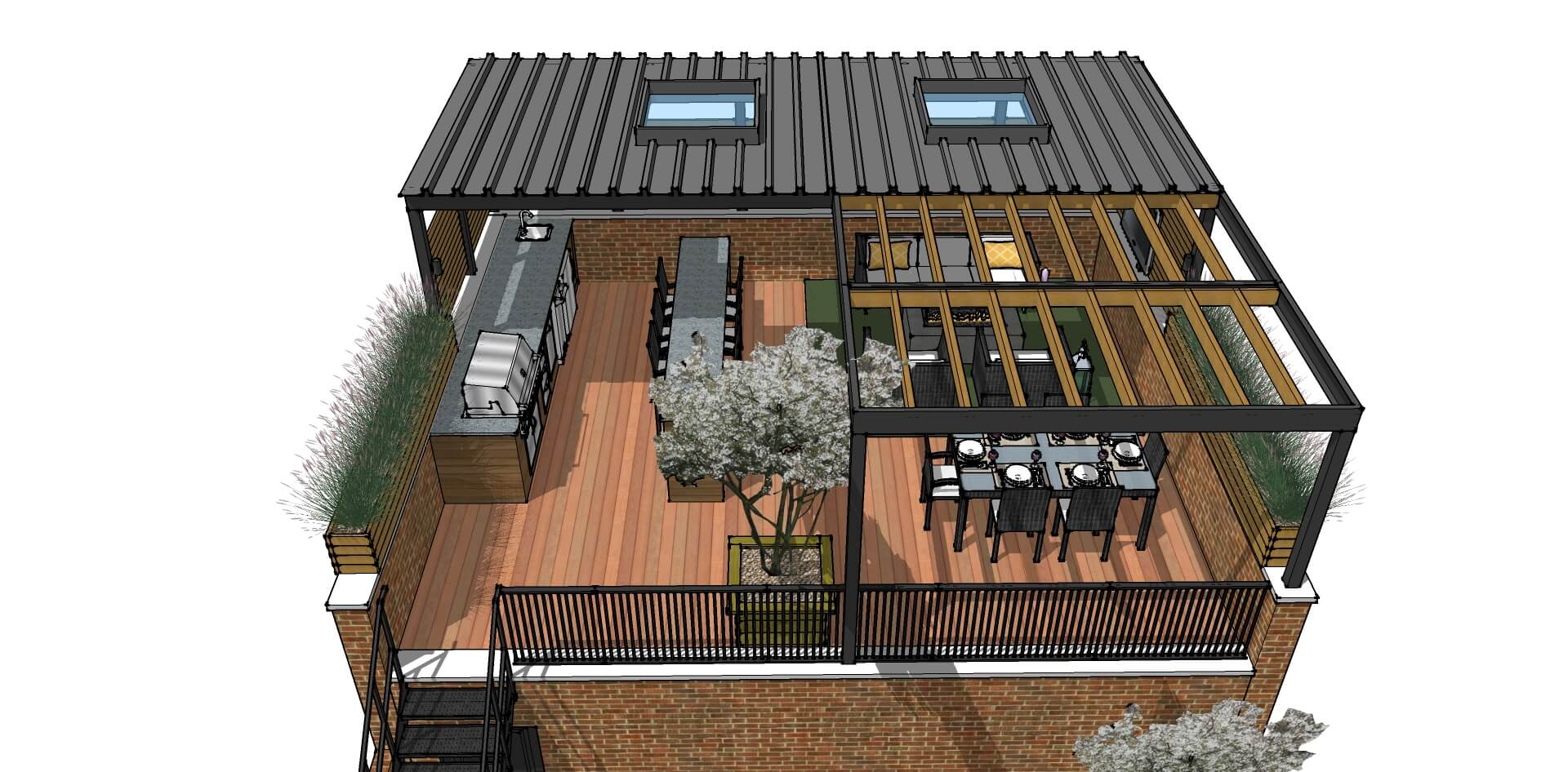 Garage Roof Deck Idea 3D Design Lakeview Chicago4