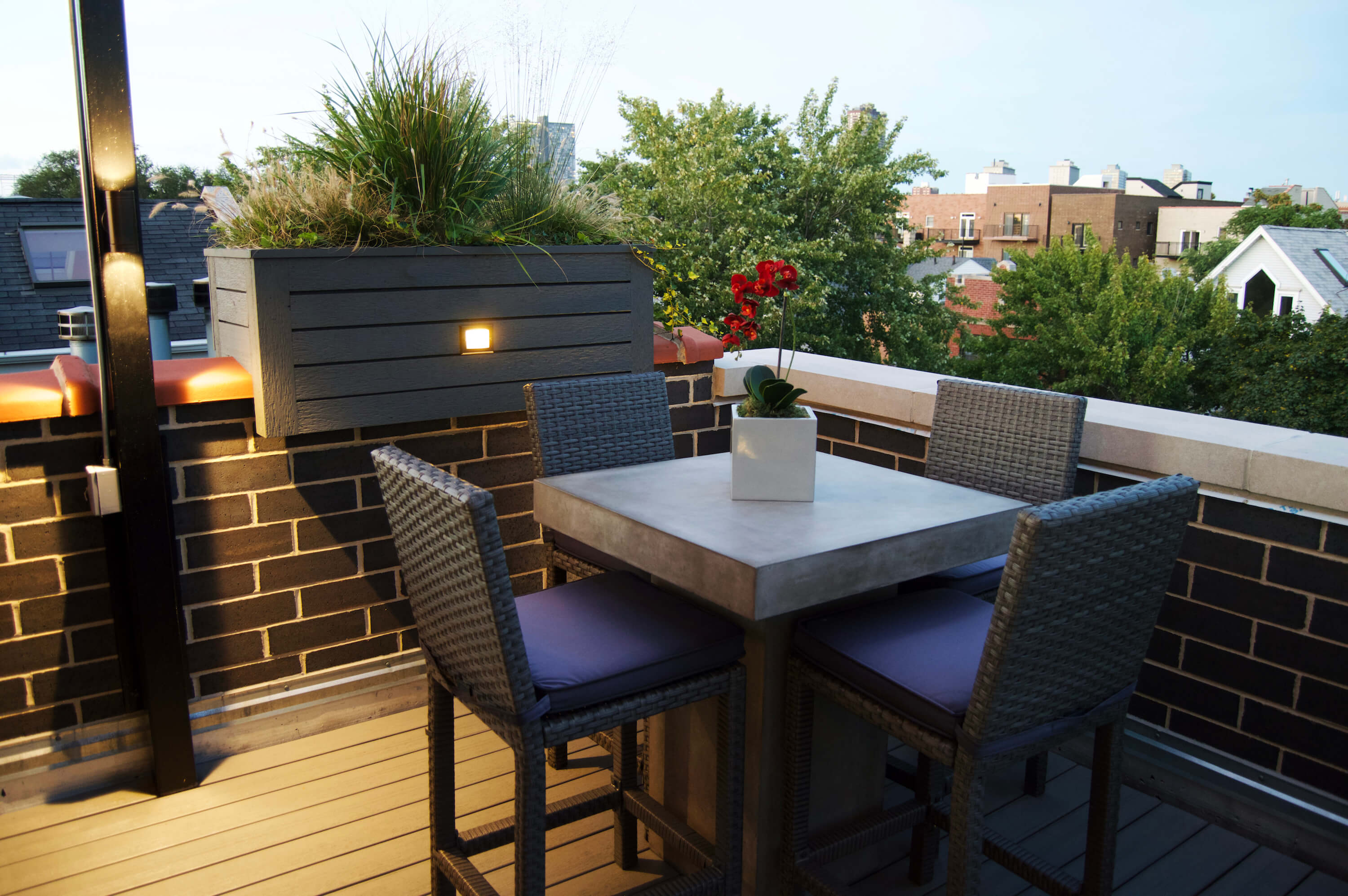 Rooftop Deck With Landscape Lighting Bbq And Outdoor Heater Lakeview Chicago Urban Rooftops Chicago Roof Decks