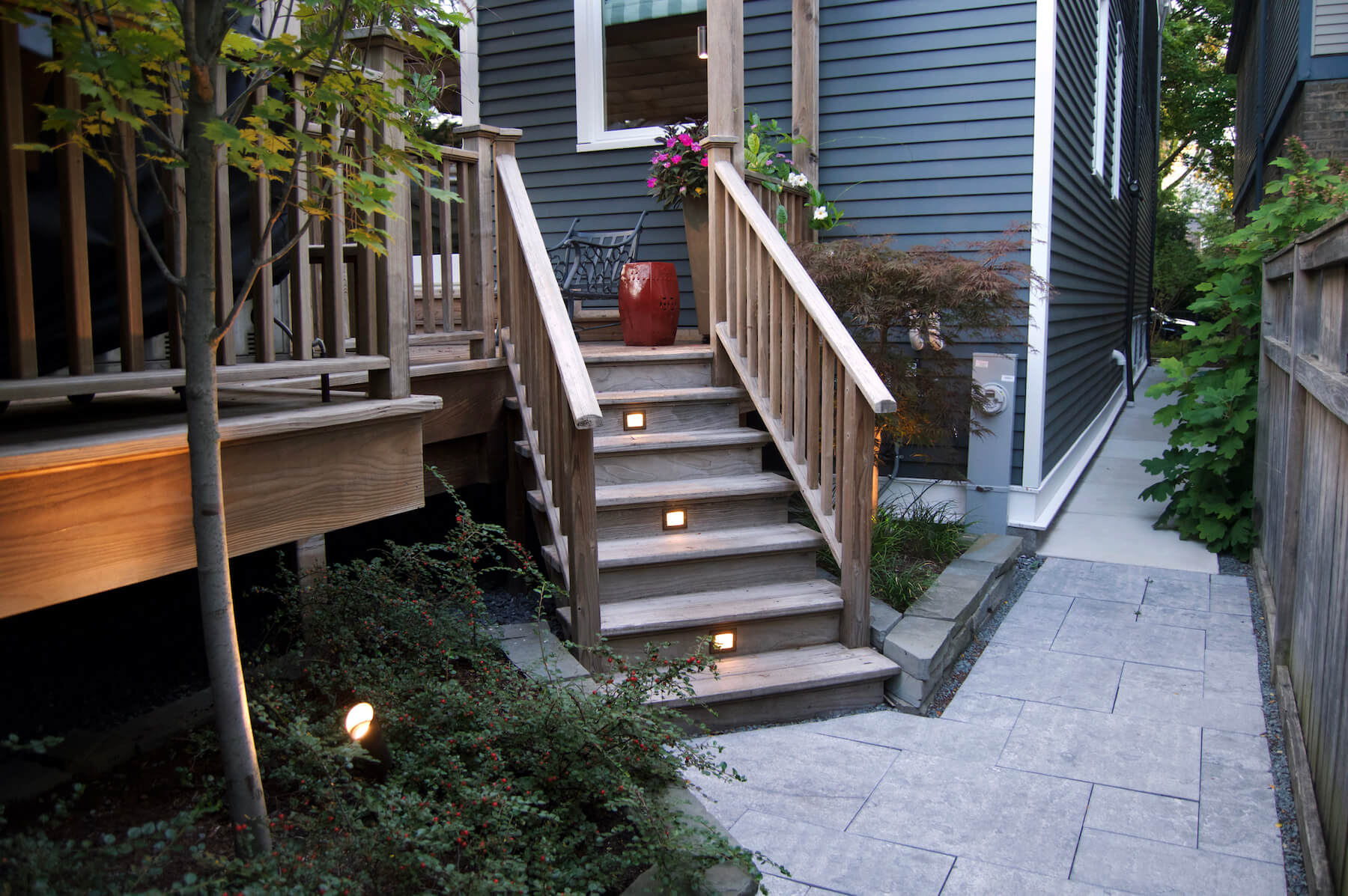 Paver walkway and landscape lighting