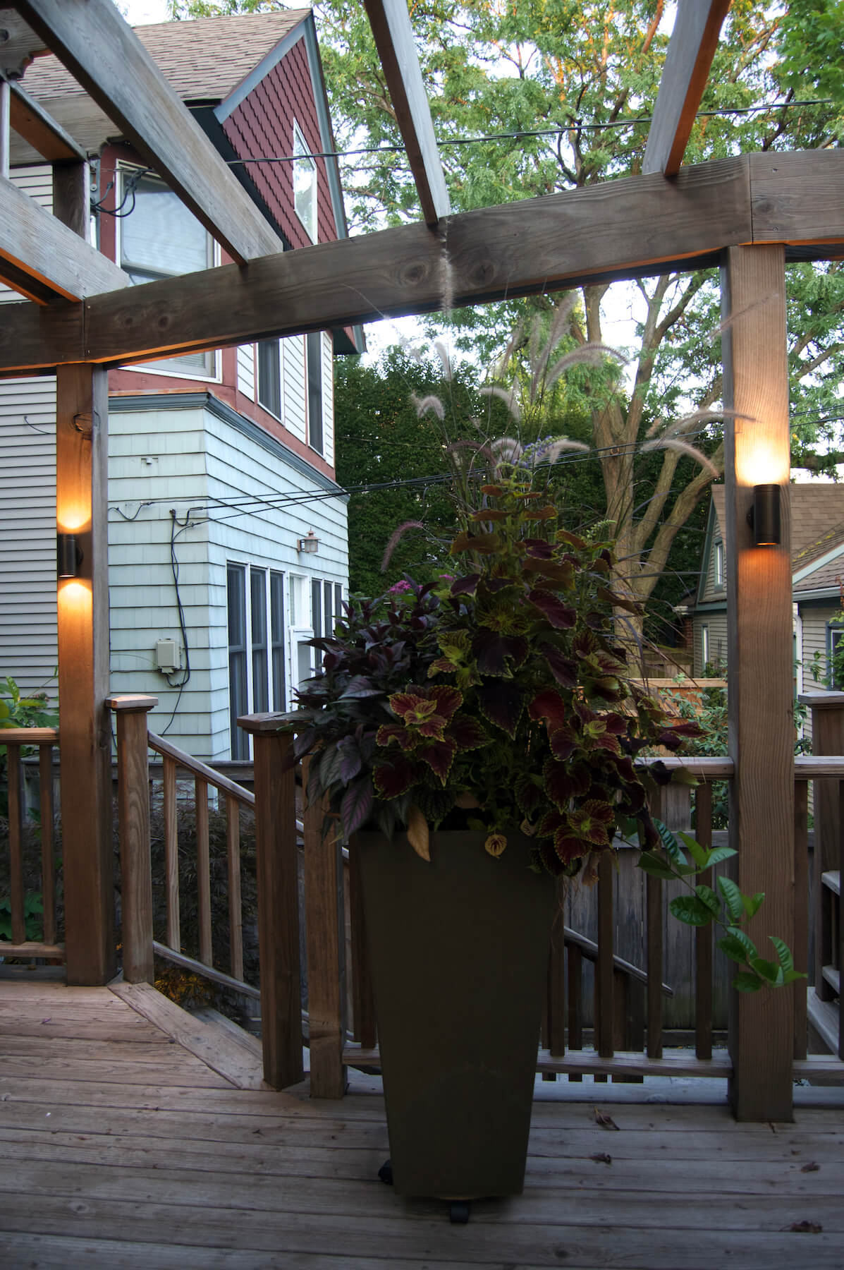 Landscape lighting and pergola