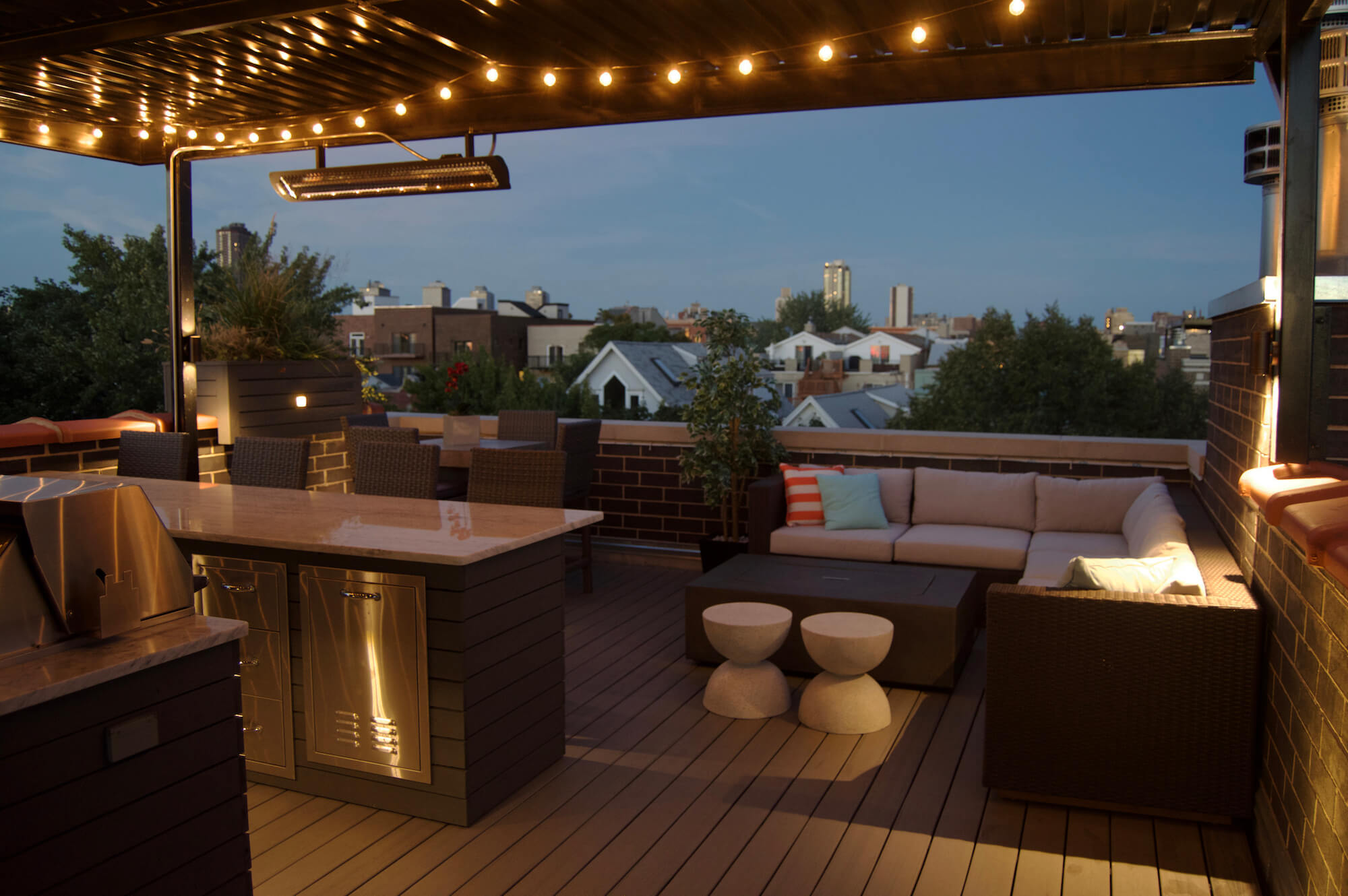 Outdoor seating with bar and heater
