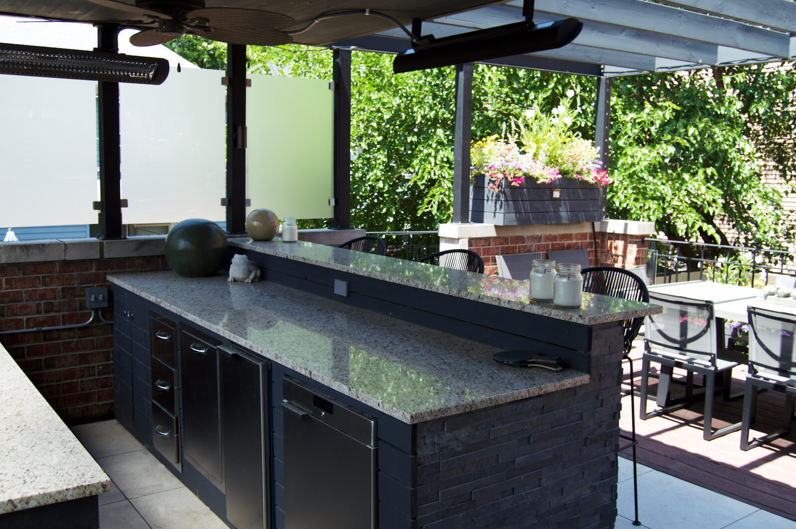Outdoor dining space and bar