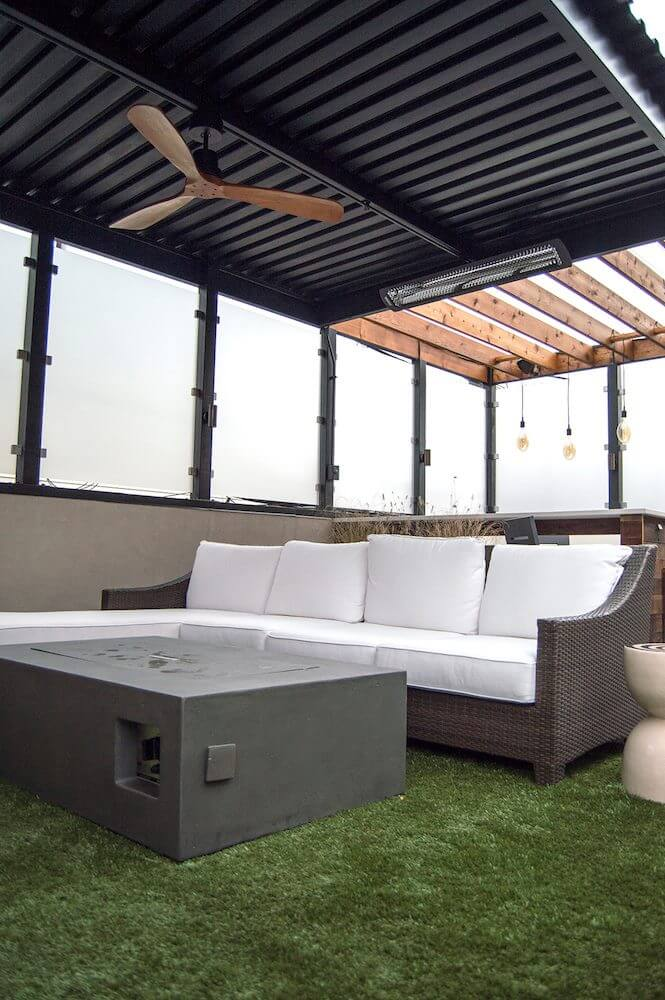 Steel pergola and couch