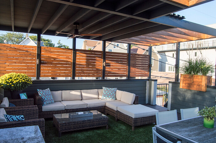 Garage rooftop lounge