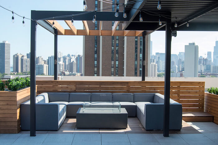 Rooftop lounge with cedar pergola