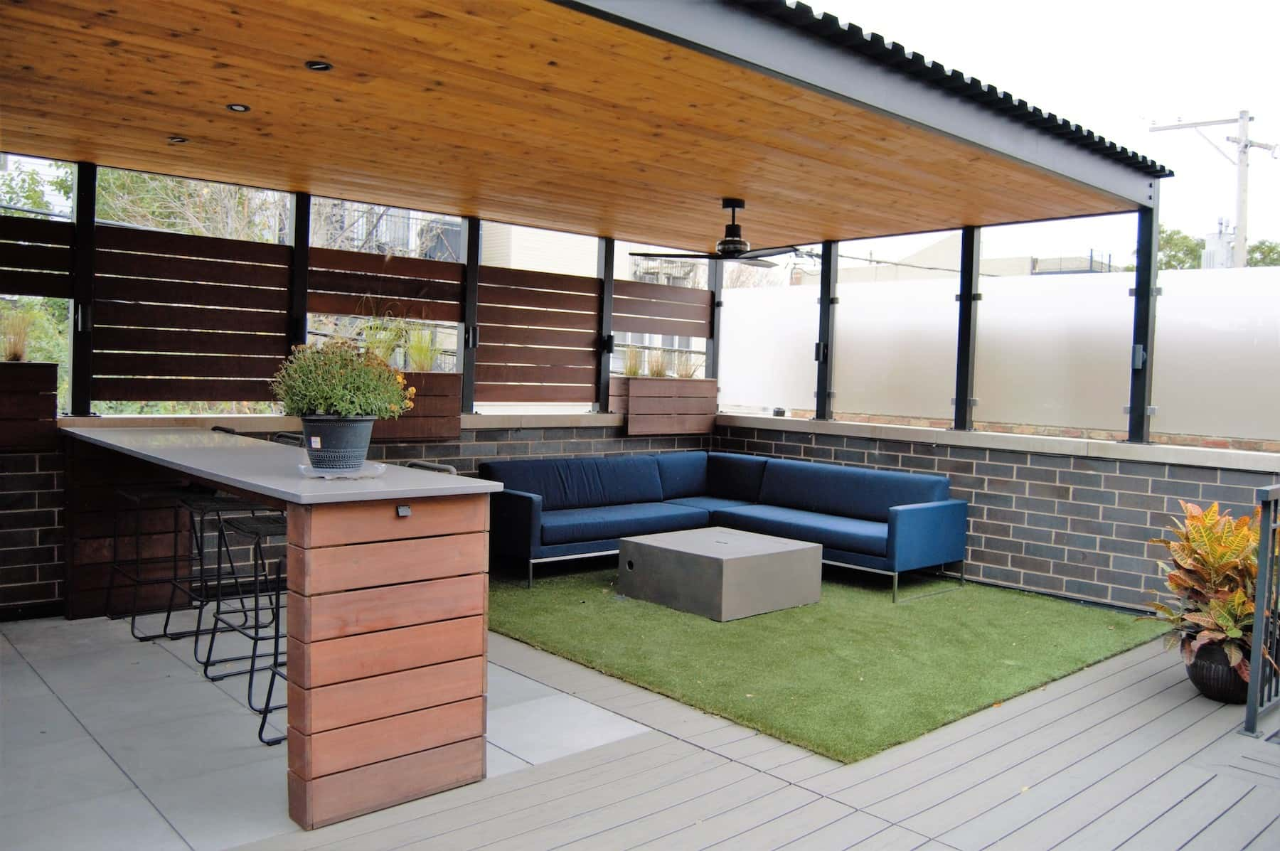 Garage Rooftop Decking Turf Outdoor Furniture Privacy Fencing Bar Seating Lake View Chicago