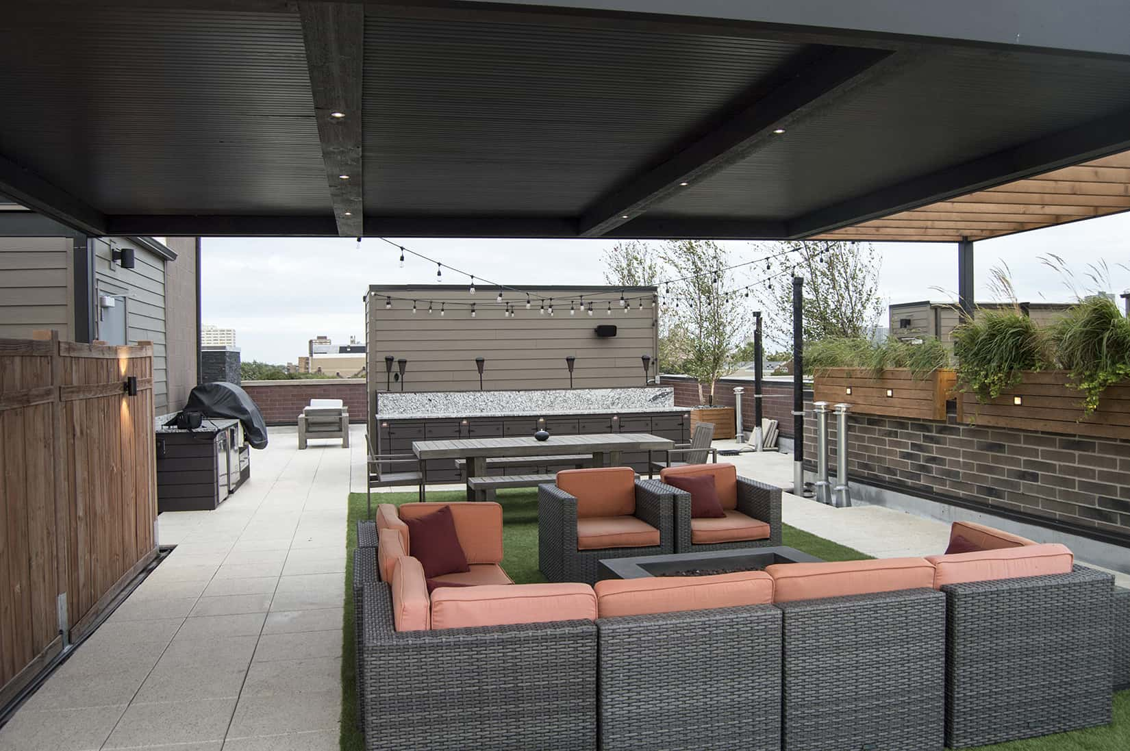 Covered Rooftop Deck Lounge Area Fire Pit Dining Area Buffet Outdoor Kitchen Planters Uptown Chicago