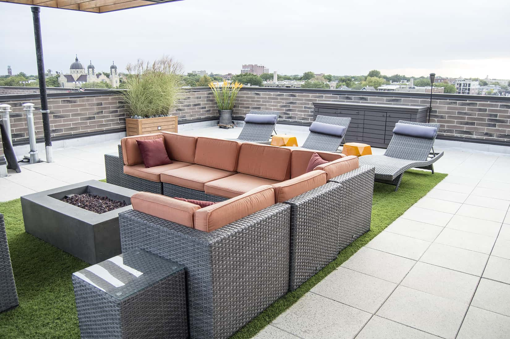 Rooftop Lounge Fire Pit Pergola Planters Turf Uptown Chicago
