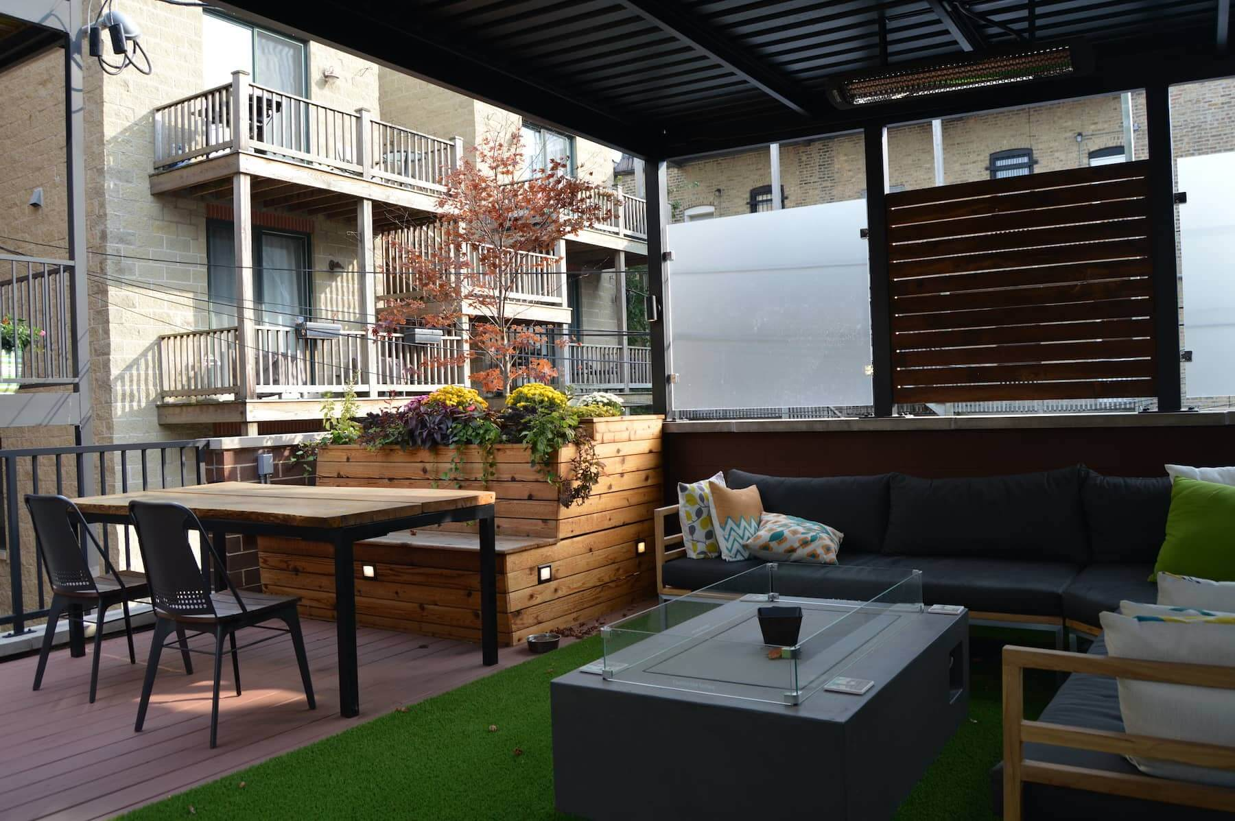 Chicago Rooftop Built Ins Dining Area Chicago IL Lakeview