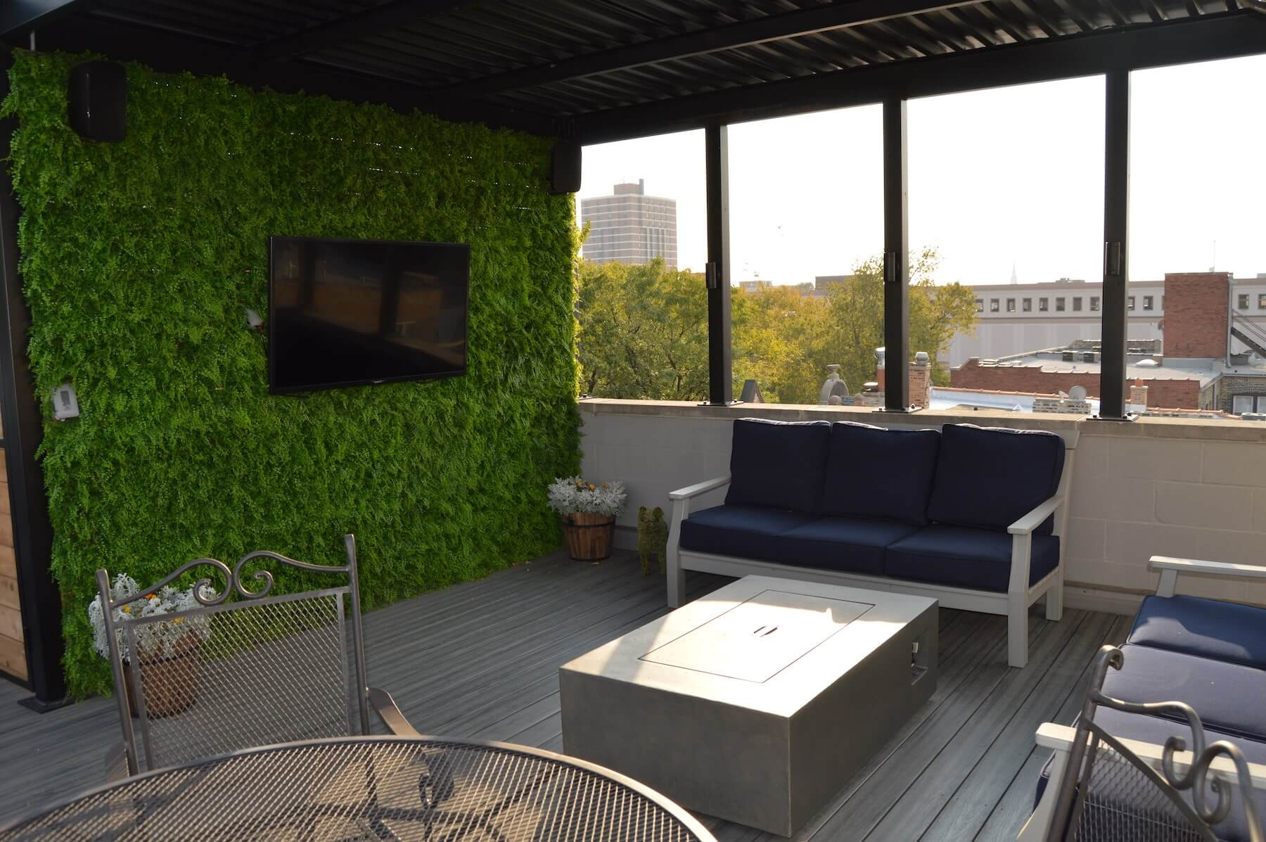 outdoor tv rooftop deck lounge fire pit chicago il