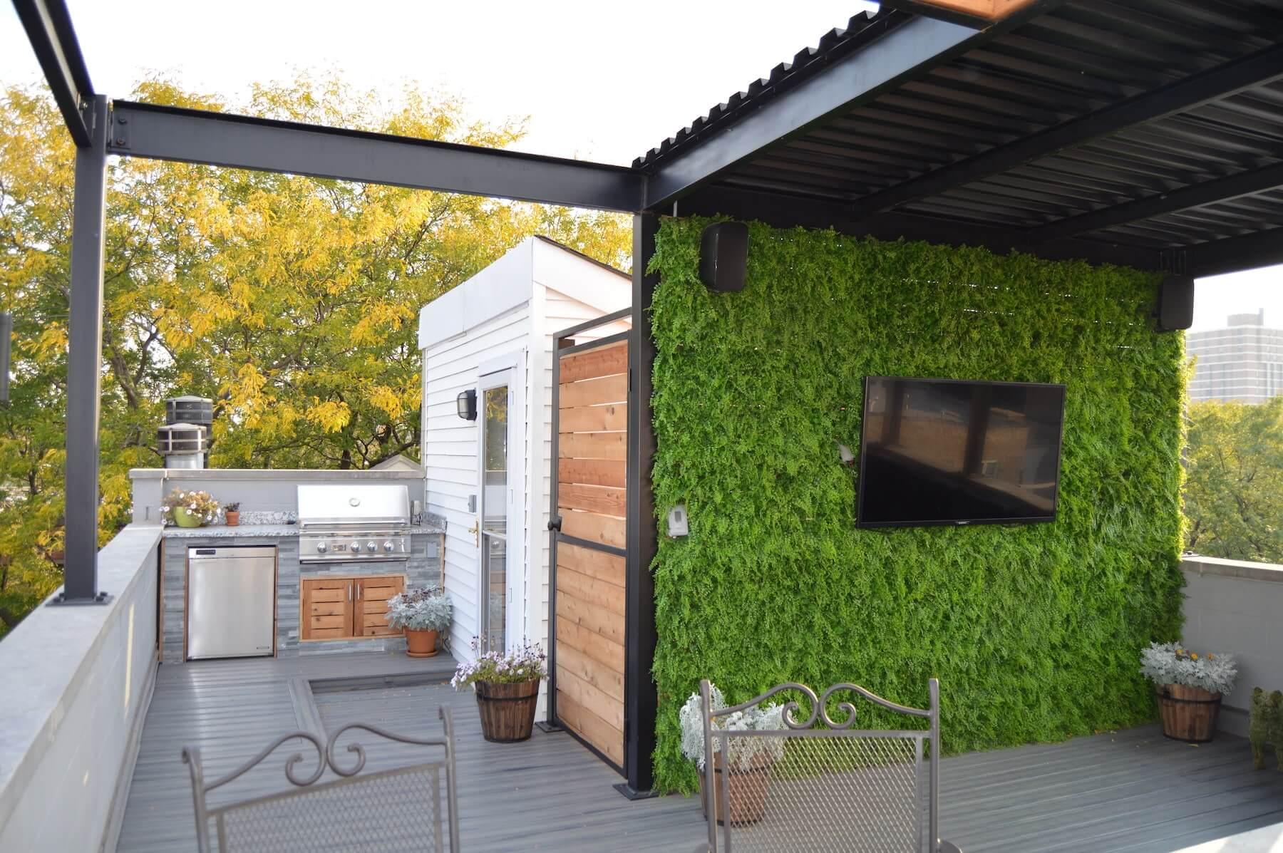 steel pergola outdoor tv outdoor kitchen rooftop deck chicago il