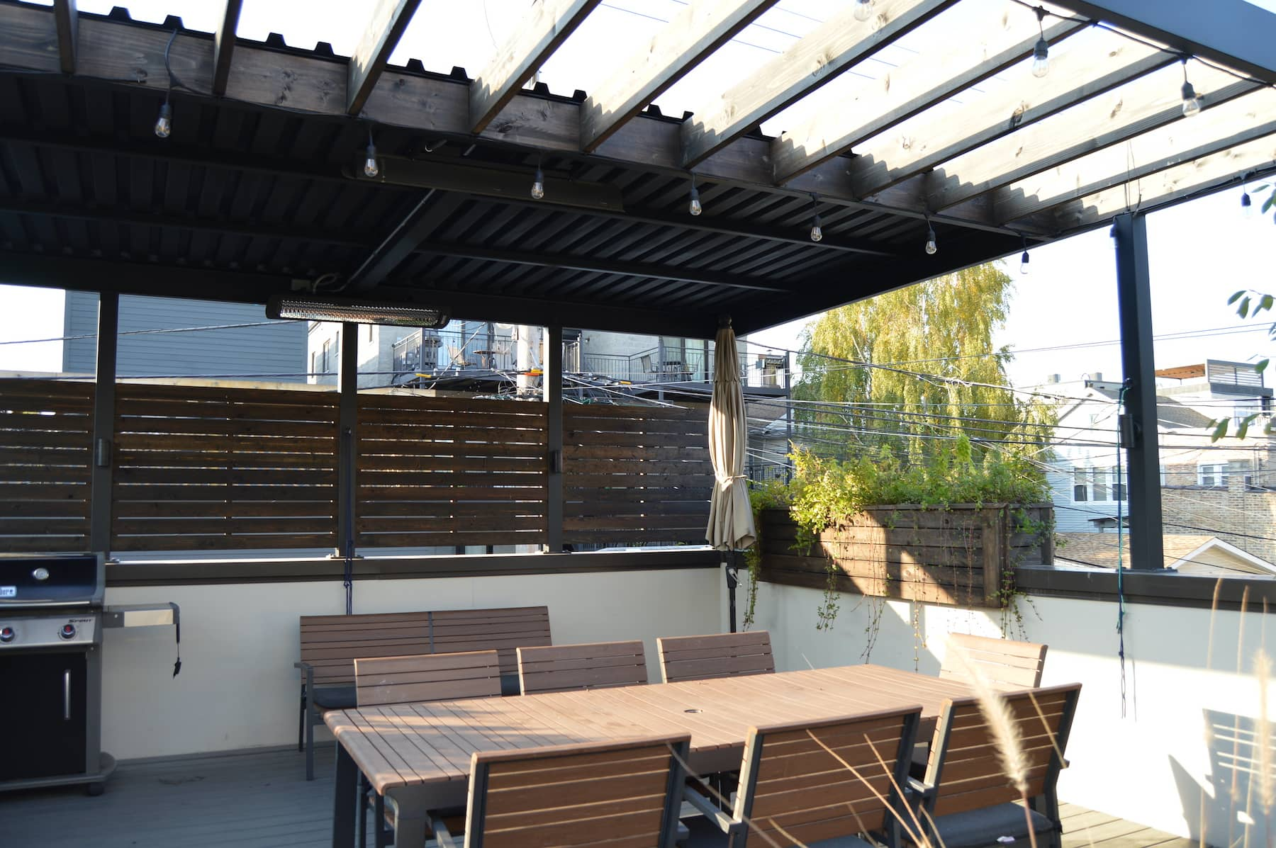 Pergola Privacy Fencing Rooftop Dining Chicago IL West Town