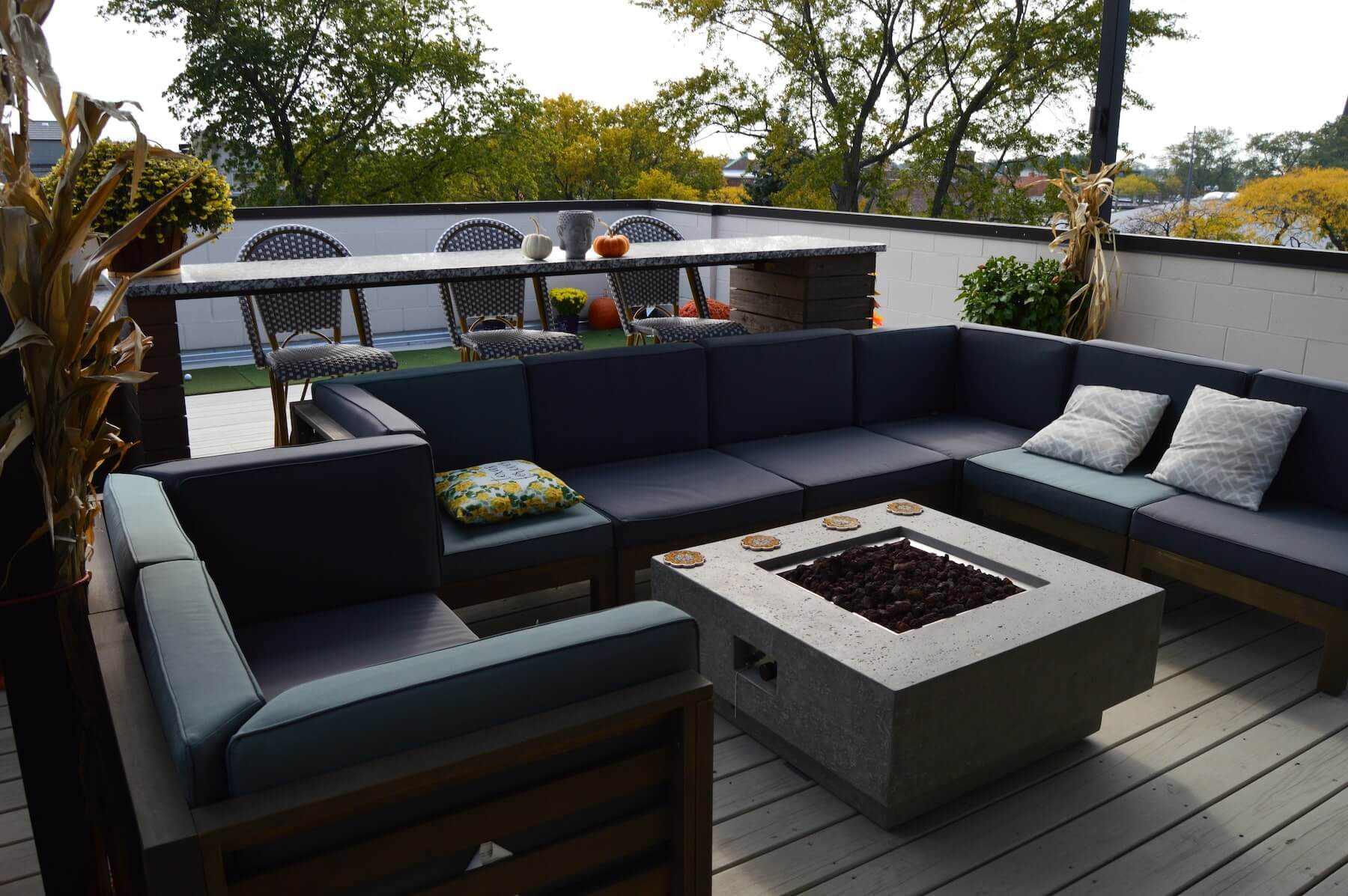 roof deck fire pit outdoor kitchen chicago il
