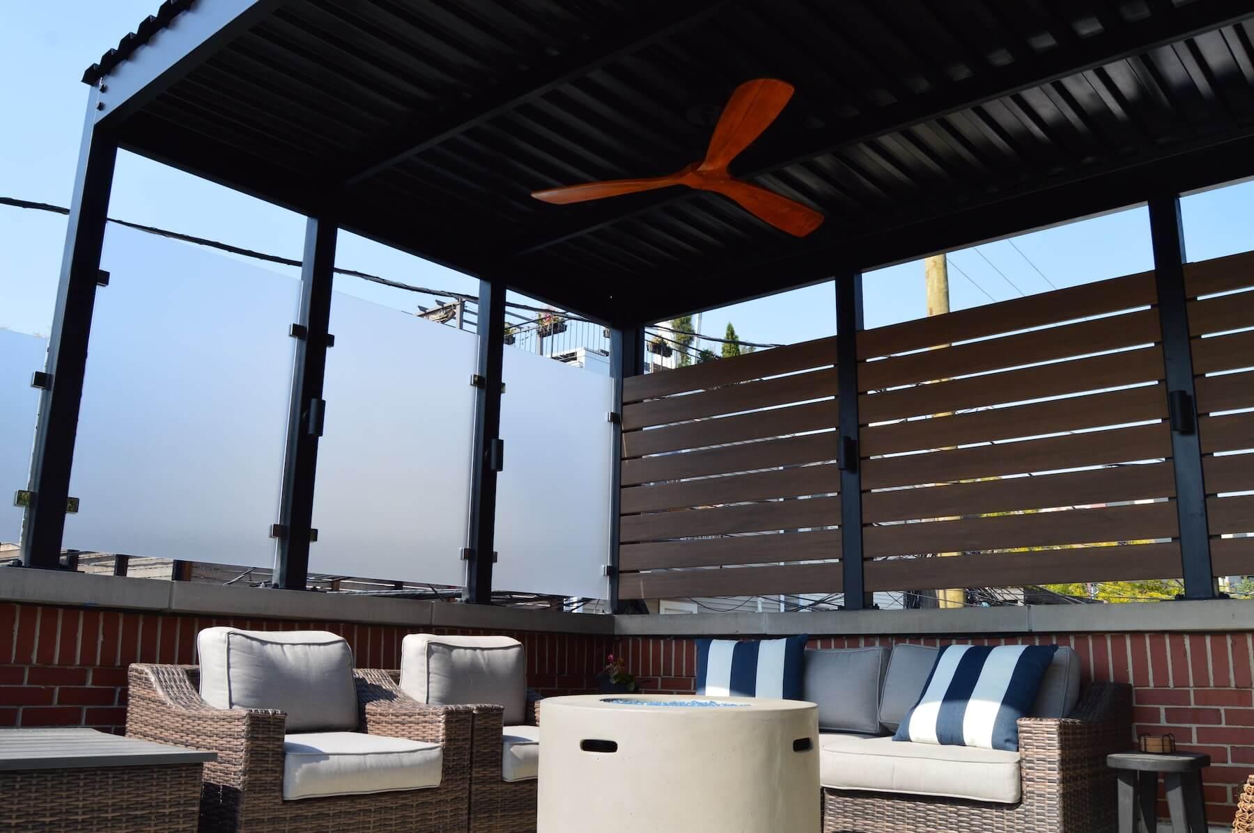 rooftop deck lounge furniture pergola chicago il