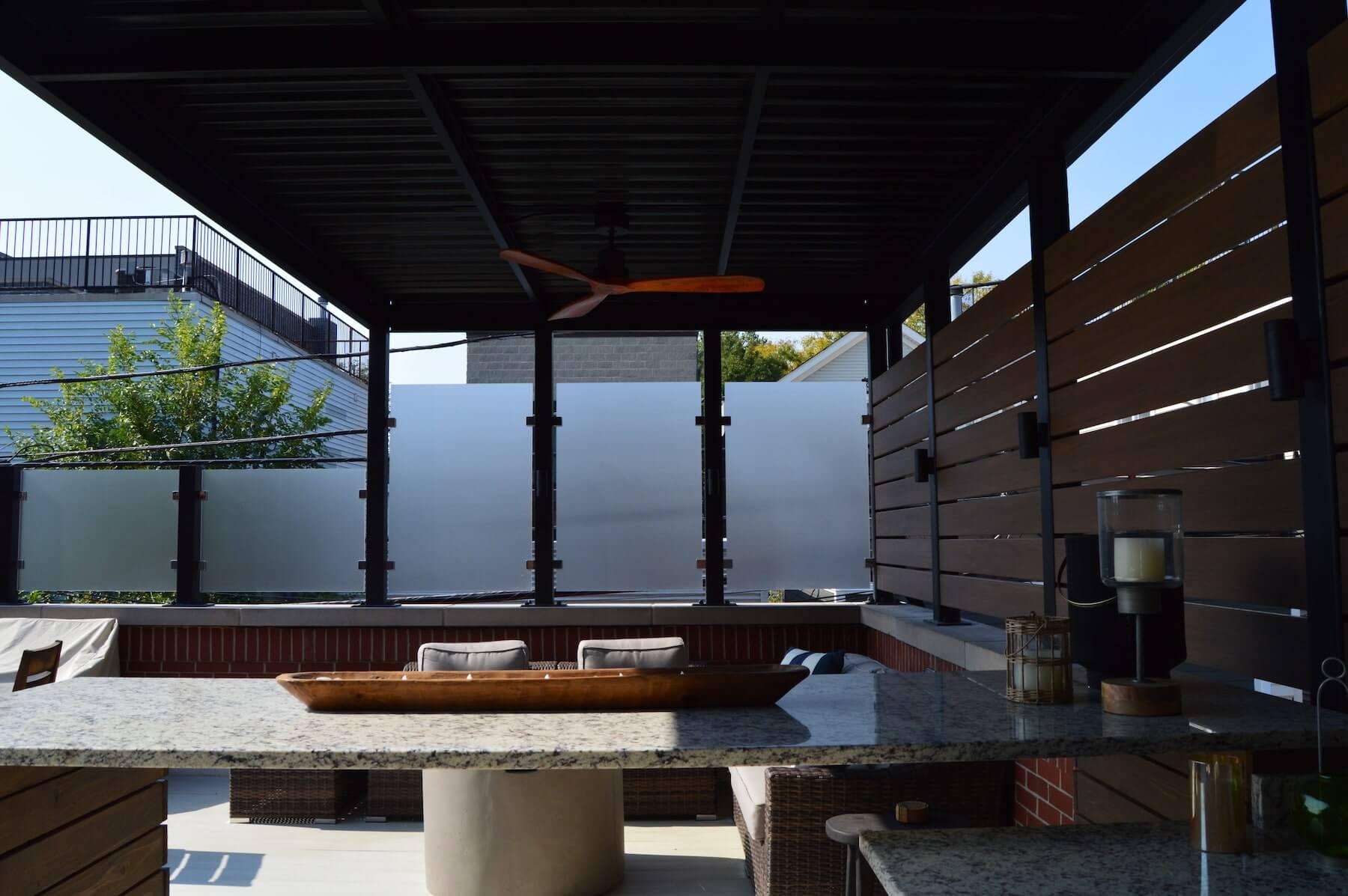 rooftop deck steel pergola privacy screen chicago il